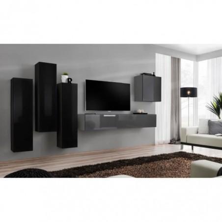 Ensemble meuble salon SWITCH III design, coloris gris et noir brillant.