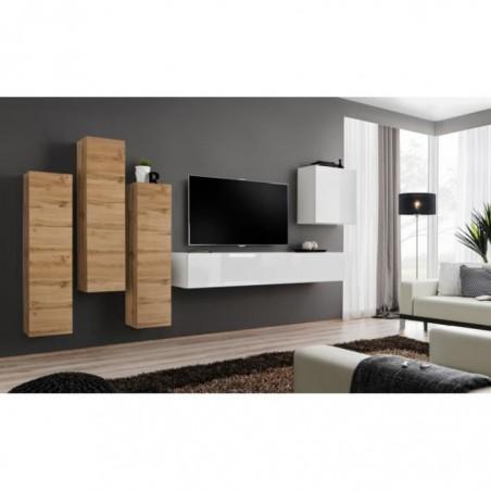 Ensemble meuble salon SWITCH III design, coloris blanc brillant et chêne Wotan.