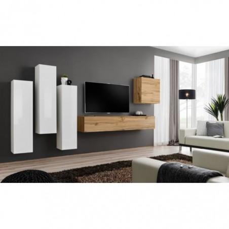 Ensemble meuble salon SWITCH III design, coloris chêne Wotan et blanc brillant.