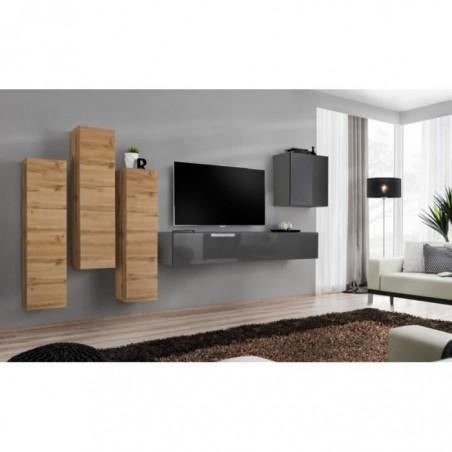 Ensemble meuble salon mural SWITCH III design, coloris gris brillant et chêne Wotan.