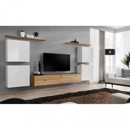 Ensemble meuble salon SWITCH IV design, coloris chêne Wotan et blanc .