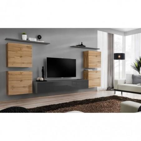 Ensemble meuble salon SWITCH IV design, coloris gris brillant et chêne Wotan.