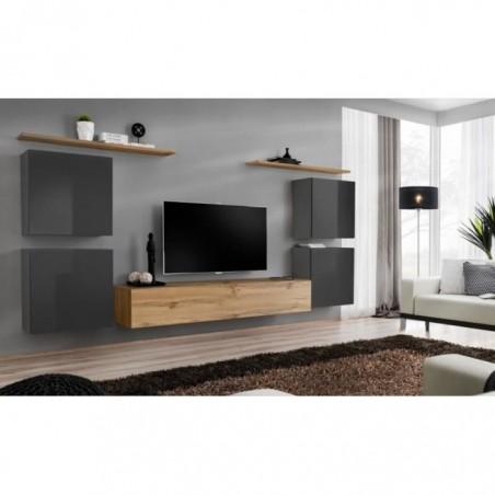 Ensemble meuble salon SWITCH IV design, coloris chêne Wotan et gris brillant .