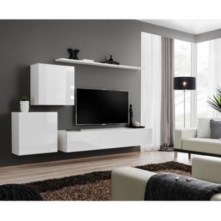 Ensemble meuble salon mural SWITCH V design, coloris blanc brillant.