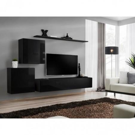 Ensemble meuble salon mural SWITCH V design, coloris noir brillant.