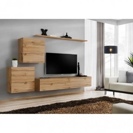 Ensemble meuble salon SWITCH V design, coloris chêne Wotan.