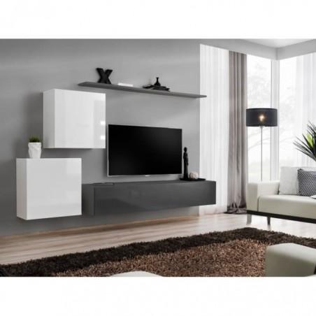 Ensemble meuble salon SWITCH V design, coloris gris et blanc brillant.
