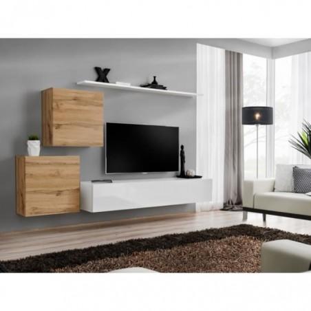Ensemble meuble salon SWITCH V design, coloris blanc brillant et chêne Wotan.