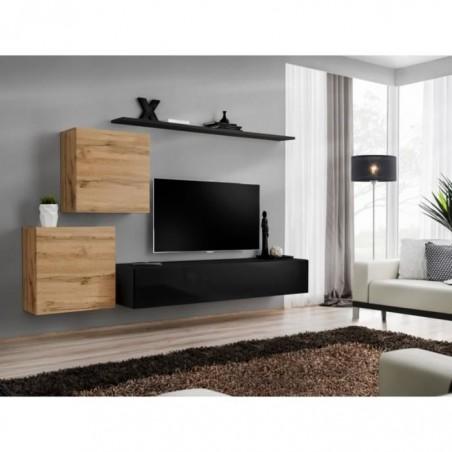 Ensemble meuble salon SWITCH V design, coloris noir brillant et chêne Wotan.