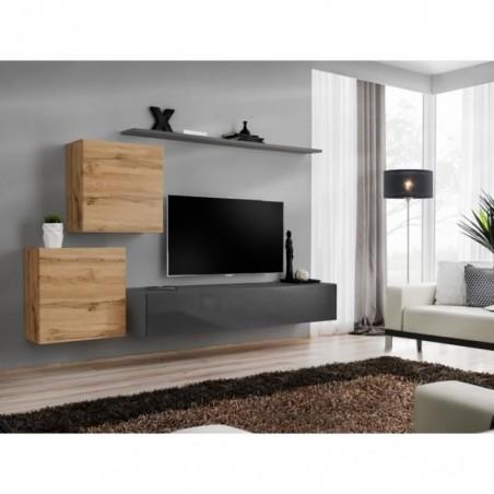 Ensemble meuble salon SWITCH V design, coloris gris brillant et chêne Wotan.