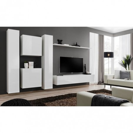Ensemble meuble salon SWITCH VI design, coloris blanc brillant.