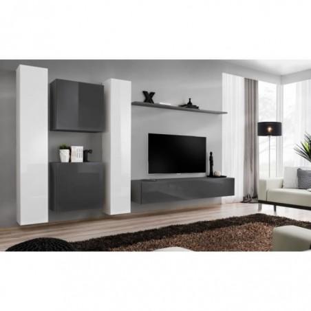 Ensemble meuble salon mural SWITCH VI design, coloris gris et blanc brillant.