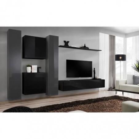 Ensemble meuble salon mural SWITCH VI design, coloris noir et gris brillant.