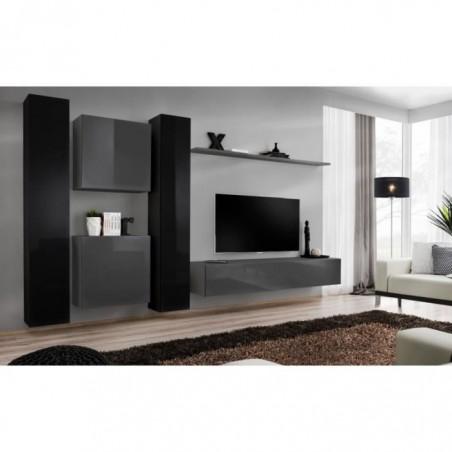 Ensemble meuble salon mural SWITCH VI design, coloris gris et noir brillant.