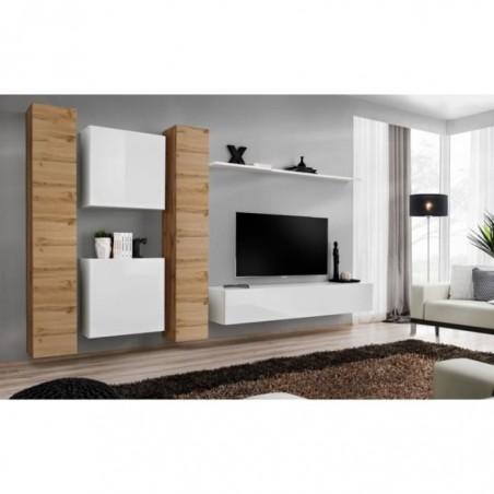 Ensemble meuble salon mural SWITCH VI design, coloris blanc brillant et chêne Wotan.