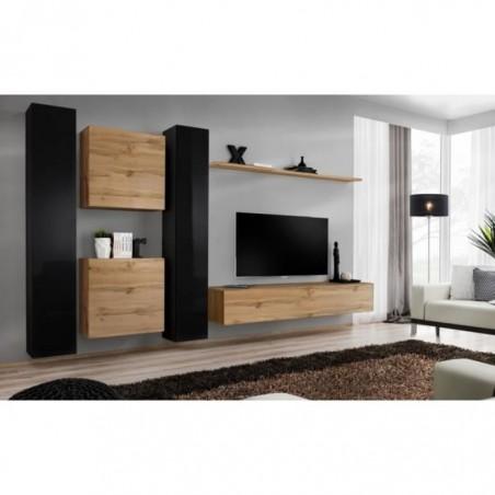 Ensemble meuble salon mural SWITCH VI design, coloris chêne Wotan et noir brillant.