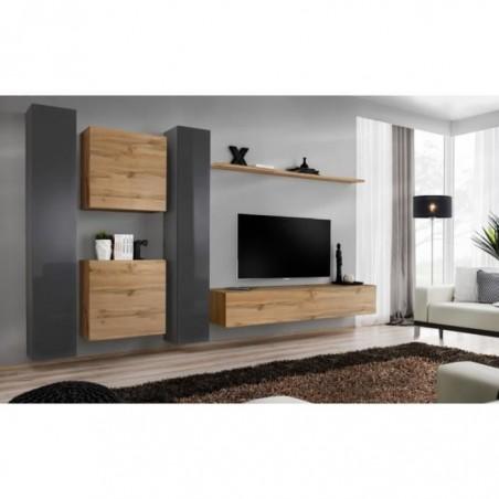 Ensemble meuble salon mural SWITCH VI design, coloris chêne Wotan et gris brillant.