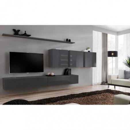 Ensemble meuble salon mural SWITCH VII design, coloris gris brillant.