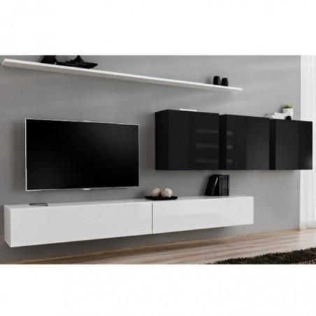 Ensemble meuble salon SWITCH VII design, coloris blanc et noir brillant.