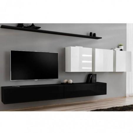Ensemble meuble salon SWITCH VII design, coloris noir et blanc brillant.