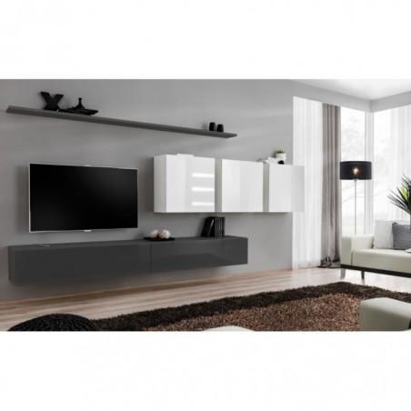 Ensemble meuble salon SWITCH VII design, coloris gris et blanc brillant.