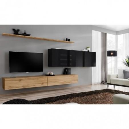 Ensemble meuble salon SWITCH VII design, coloris chêne Wotan et noir brillant.
