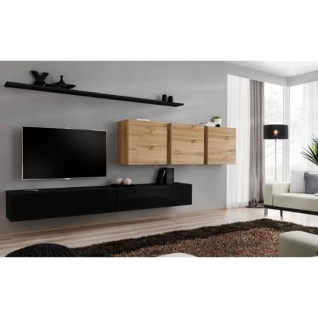 Ensemble meuble salon SWITCH VII design, coloris noir brillant et chêne Wotan.