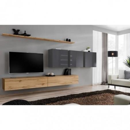 Ensemble meuble salon SWITCH VII design, coloris chêne Wotan et gris brillant.