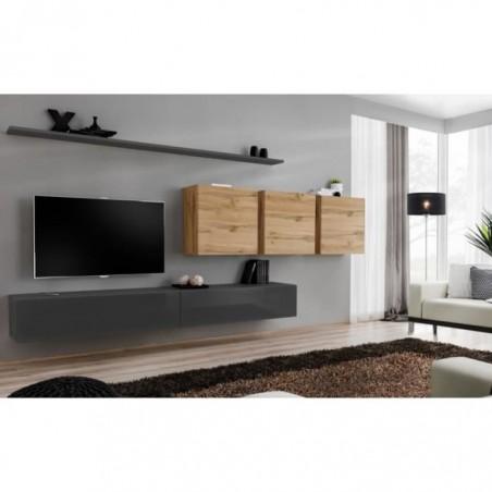 Ensemble meuble salon mural SWITCH VII design, coloris gris brillant et chêne Wotan.