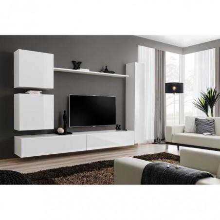 Ensemble meuble salon SWITCH VIII design, coloris blanc brillant.