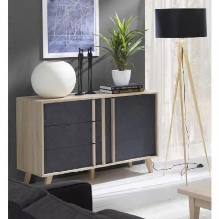 Buffet, enfilade, bahut petit modèle MALMO. Meuble design type SCANDINAVE. Effet ultra tendance pour votre salon.