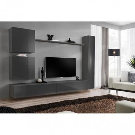 Ensemble meuble salon mural SWITCH VIII. Meuble TV mural design, coloris gris brillant.