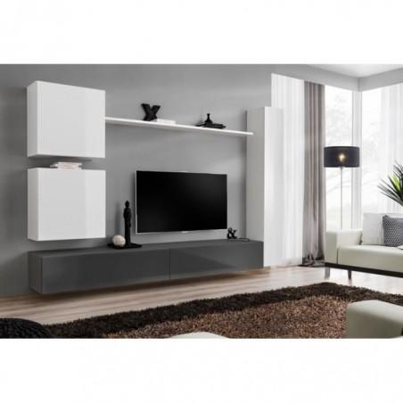 Ensemble meuble salon mural SWITCH VIII. Meuble TV mural design, coloris gris et blanc brillant.