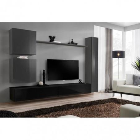 Ensemble de meuble pour salon mural SWITCH VIII. Meuble TV mural design, coloris noir et gris brillant.