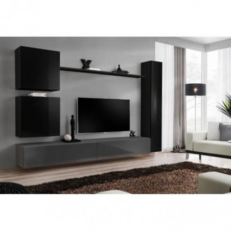 Ensemble meuble salon mural SWITCH VIII design, coloris gris et noir brillant.