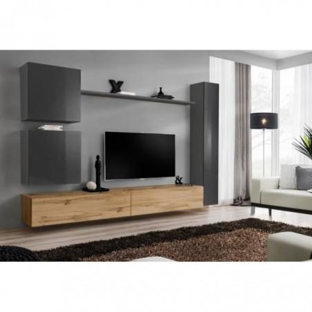 Ensemble de  meuble pour votre salon SWITCH VIII.Meuble TV mural design, coloris chêne Wotan et gris brillant.