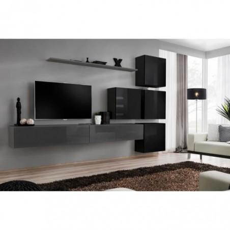 Ensemble meuble salon mural SWITCH IX design, coloris gris et noir brillant.