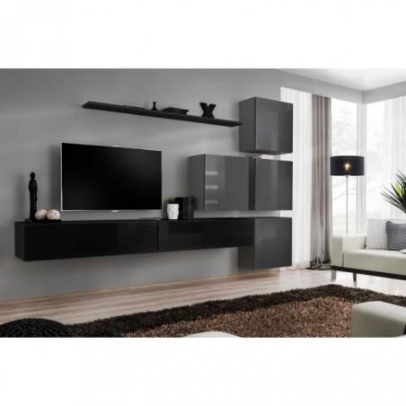 Ensemble meuble salon mural SWITCH IX design, coloris noir et gris brillant.