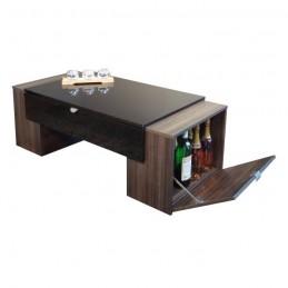 Table basse LUCK design et modulable. Idéal pour votre salon. Noire et prunier avec une finition haute brillance