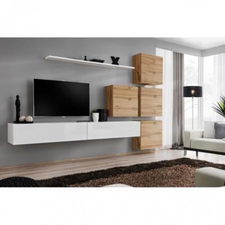 Ensemble meuble salon mural SWITCH IX design, coloris blanc brillant et chêne Wotan.