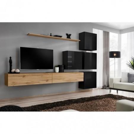 Ensemble meuble salon mural SWITCH IX design, coloris chêne Wotan et noir brillant.