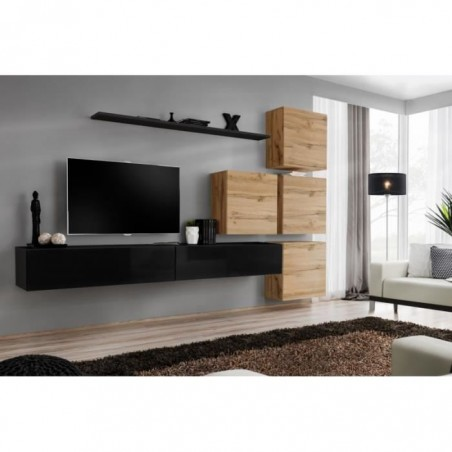 Ensemble meuble salon mural SWITCH IX design, coloris noir brillant et chêne Wotan.