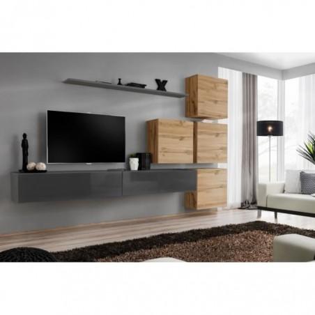 Ensemble meuble salon mural SWITCH IX design, coloris gris brillant et chêne Wotan.
