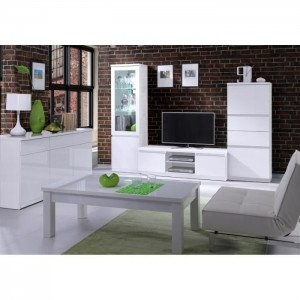 Vitrine, bibliothèque FABIO blanc brillant high gloss + LED.