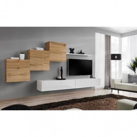 Ensemble meuble salon mural SWITCH X design, coloris blanc brillant et chêne Wotan.
