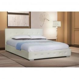 Lit adulte design blanc capitonné IGOR 160x200 cm avec sommier.