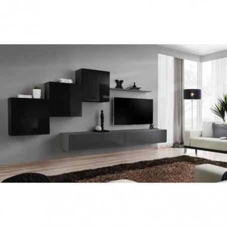 Ensemble meuble salon mural SWITCH X design, coloris gris et noir brillant.