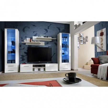 Ensemble pour votre salon GALINO C, coloris blanc brillant. -Meuble moderne et tendance pour votre salon.