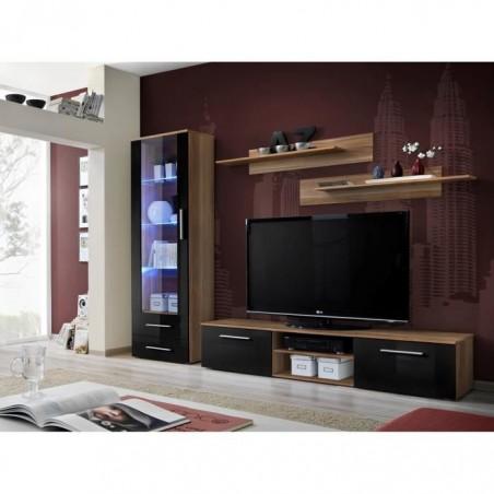 Meuble TV GALINO A design, coloris prunier et noir brillant. Meuble moderne et tendance pour votre salon.