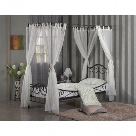 Lit en métal à baldaquin SHELBY + sommier. Rideaux inclus. Couchage 90x200 cm. Lit design et contemporain.